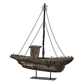Figura Decorativa DKD Home Decor Wood Metal Barco (39 x 8 x 44 cm)