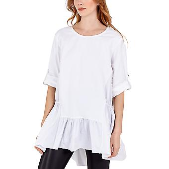 Chloe Frill Hem Button Sleeve Top | White | One Size