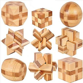 Puzzles 9pcs Design Brain Teaser-3d Wooden Interlocking Burr