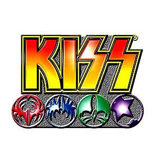 KISS Pin Badge band Logo and Icons new Official metal Lapel