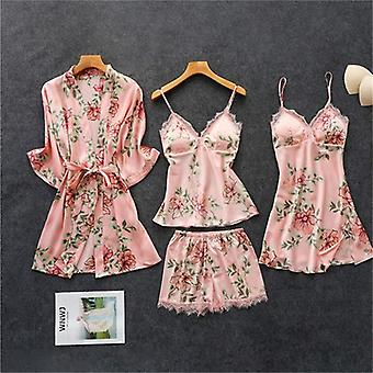 Vårhöst Kvinnor Silk Pyjamas Uppsättningar med bröstkuddar Blomma Tryck Sleepwear