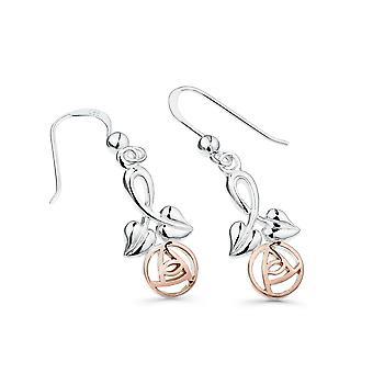 Boucles d'oreilles Sterling Silver - Charles Rennie Mackintosh Rose + Feuilles + Rose Gold Plaqué