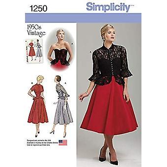 תבניות תפירה פשטות 1250 מתגעגע וינטג 1950 של חתיכה אחת שמלה ז'קט גודל 14-22 R5