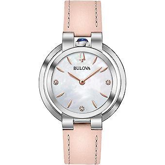 Bulova Rubaiyat Pink Leather Ladies Watch 96P197