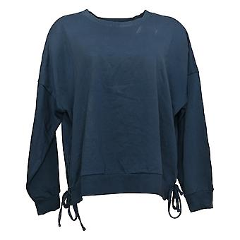 AnyBody Women's French Terry Side Tie Sweatshirt Blue A377742