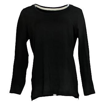 Isaac Mizrahi Live! Women's Top Essentials Pima Hi-Low Hem Black A389762