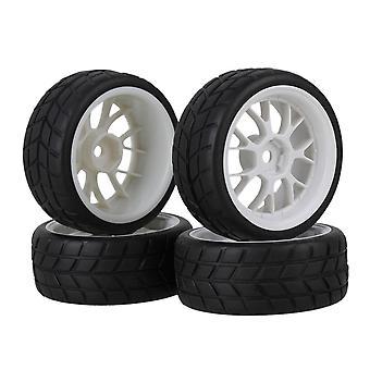 RC1:10 On-Road Auto Modello quadrato Pneumatico Bianco Plastica Y Forma Cerchio Cerchio Set di 4