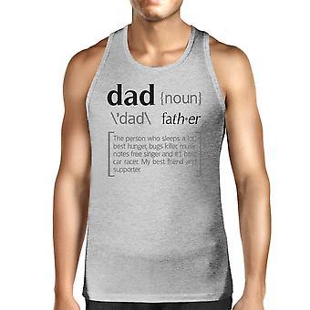 Dad Noun Mężczyźni Szary Bawełna Tank Top Unikalni Ojcowie