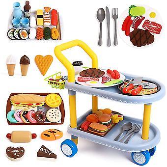 HanFei Kinder Food Trolley Auto, Kinder Rollenspiel groe Speisewagenspielzeug und 98 stecken
