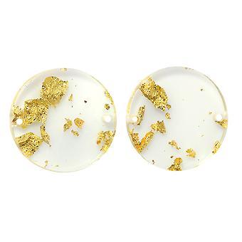 Zola Elementos Acetato Conector Enlace, Moneda 20mm, 2 Piezas, Lámina de Oro