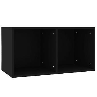 vidaXL Record Storage Box Black 71×34×36 cm Chipboard
