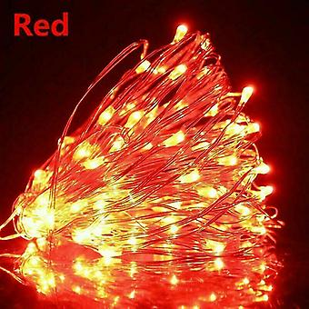 Usb 10m 100 leds red usb led string lights 10m 5m 3m 2m, silver wire waterproof fairy light az16787