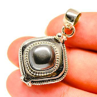 "Hematite Poison Pendant 1 1/2"" (925 Sterling Silver)  - Handmade Boho Vintage Jewelry PD760558"
