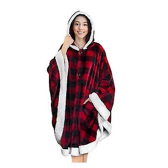Poncho Soft Sherpa Villa fleecepeitto taskulla (monivärinen)