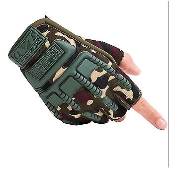 Outdoor sports climbing fitness gloves half-finger cycling tactical protective gloves(Camouflage)