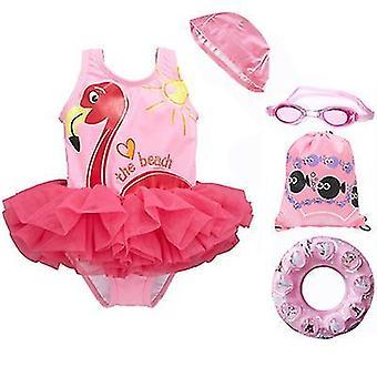 Zomer strand meisjes¡ ̄ badpak uit één stuk met badmuts, bril en zwemring (90-100cm)