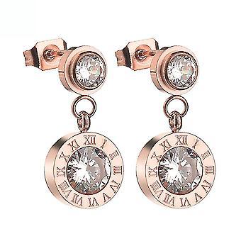 Ohrstecker römischen Ziffern Rose Gold Micro eingelegt Zirkon Ohrringe für Hochzeit