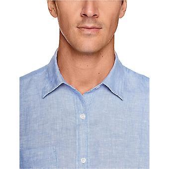 Essentials Men's Regular-Fit Langarm Leinen Shirt, natürlich, X-Large