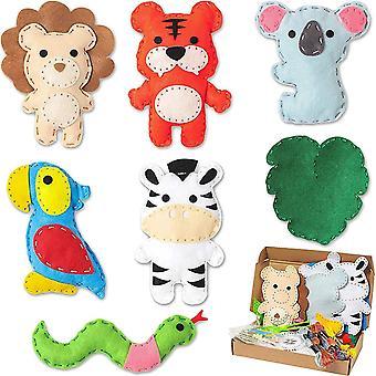Animal Sewing Kit-7p Nähsets für Kinder Jungle Tiere Filz Nähzeug Wildtier Anfänger Nähpaket