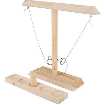 Hooks Ring Toss Spiel mit Shot Ladder Bundle, Wood Desktop Battle Game für Erwachsene und Kinder
