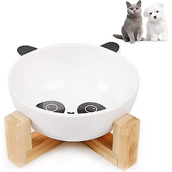 ® Keramik Katzennäpf, Keramik Fressnapf Set, Keramik Hundenapf, Futternapf Katze mit Bambus Halter,