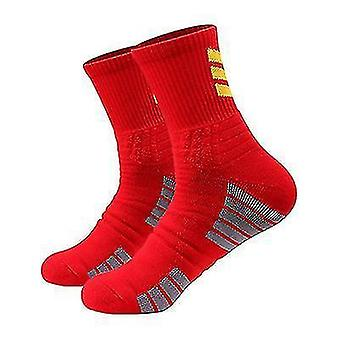 3 Pairs Of Outdoor Running Basketball Sports Socks Ladies Mid-tube Cotton Socks(Red)