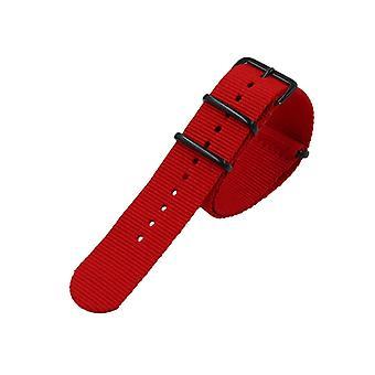 NATO Styl Robustní šité plátno hodinky popruh popruhy s vakuem pokovování černá spona bavlněné plátno