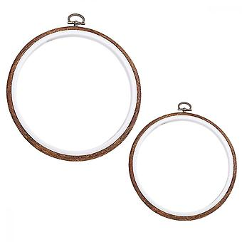 Embroidery Hoops Set-2 Pcs Hoop Ring Imitation Wood Display Frame Embroidery Set