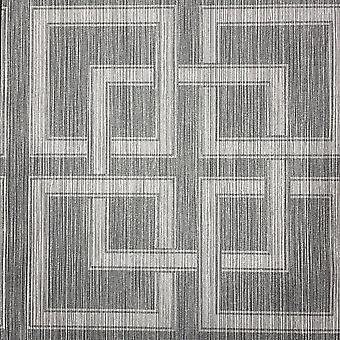 Amara Square Charcoal Metallic Silver Wallpaper