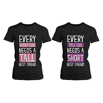 Beste venn skjorter - kort og høye bestevenner BFF matchende t-skjorter
