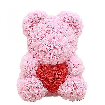 40cm Rose Bear With Heart Artificial Flowers Rose Bear For Women Valentine's Wedding Birthday Christmas Gift Home Decoration
