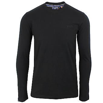 Superdry miesten musta pitkähihainen t-paita