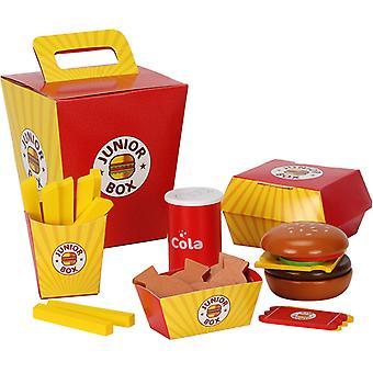 Simulation Wooden Hamburger Fries Fast Food Set Kids Pretend Play Toy