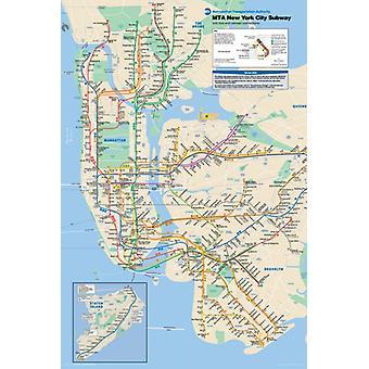 מפת הרכבת התחתית של העיר ניו יורק פוסטר הדפסה (24 x 36)