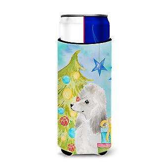 White Standard Poodle Christmas Michelob Ultra Hugger for slim cans