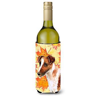 Sileäkarvainen kettuterrieri syksyllä viinipullo Beverge eriste Hugger
