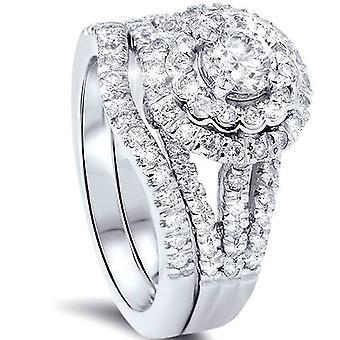1 1 / 4ct ronde Diamond Halo verlovingsring Set 14K White Gold