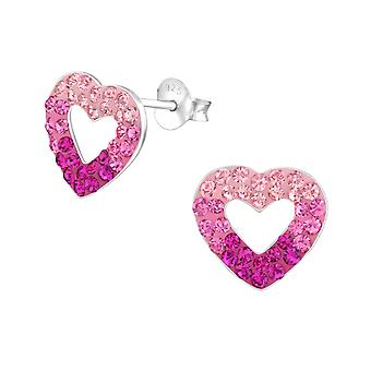 Heart - 925 Sterling Silver Crystal Ear Studs - W36472x