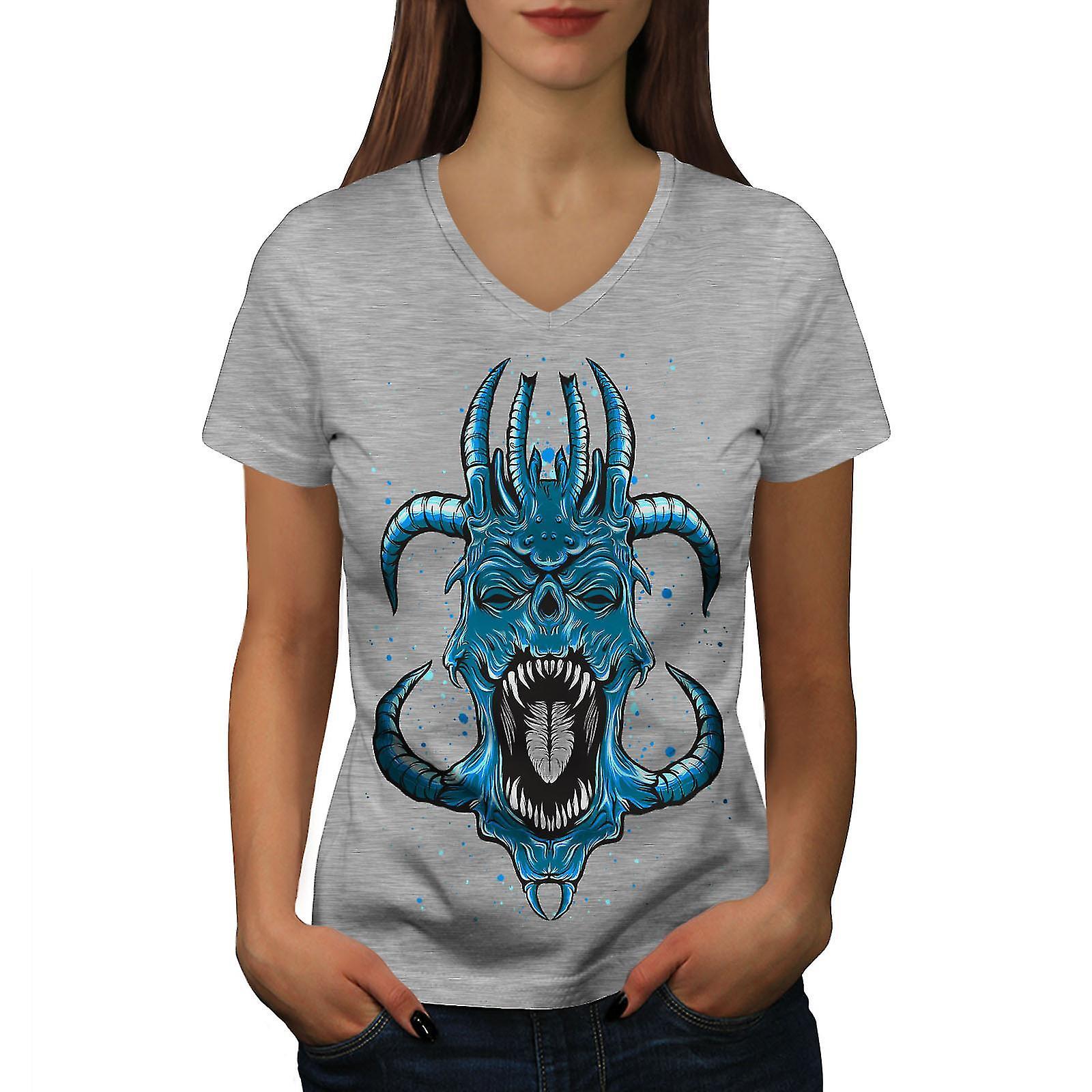 Bleu de Satan horreur fantastique femmes GreyV-Neck T-shirt | Wellcoda