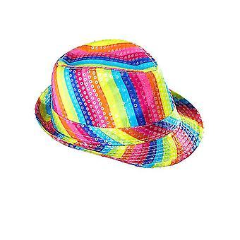 Rainbow paljett Fedora hatt