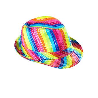 Rainbow Sequin Fedora hattu