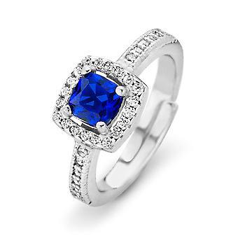 Orphelia Silver 925 Ring prinses zirkonium blauw ZR-7199/BL