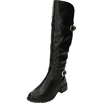 Krush Knee High Flat Riding Boots Black