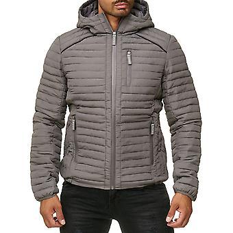 Men's Quilted Jacket Lined Windbreaker Jacket Coat Blouson Hoodie Inside pocket