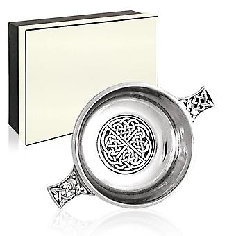 Celtic Knot Pewter Quaich with Central Knot Work Disc - 3.5