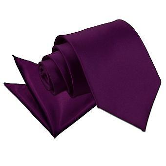 Purple Plain Satin Krawatte & Einstecktuch Satz