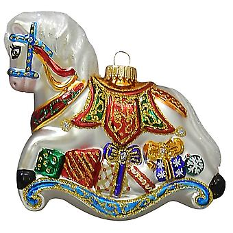 Christmas By Krebs Elegant Rocking Horse Holiday Ornament Glass