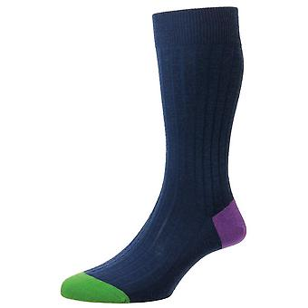 Pantherella Stratford Contrast hiel en teen Merino wollen sokken - donker blauw/Sweet Pea/groen