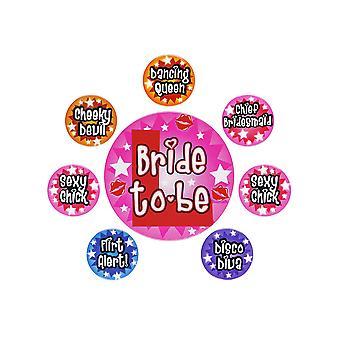 Vrijgezellenfeest badges-set van 8