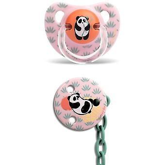 Suavinex Latex Anatomic Pacifier + Panda Pink Brooch 6 to 18 Months